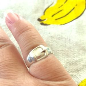 Buckle toe ring in sterling silver adjustable